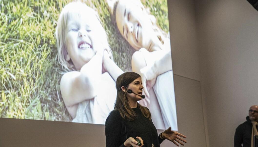Barbara Casacuberta pitchet Happy Parents under Oslo Startup Weekend. Foto: Per-Ivar Nikolaisen
