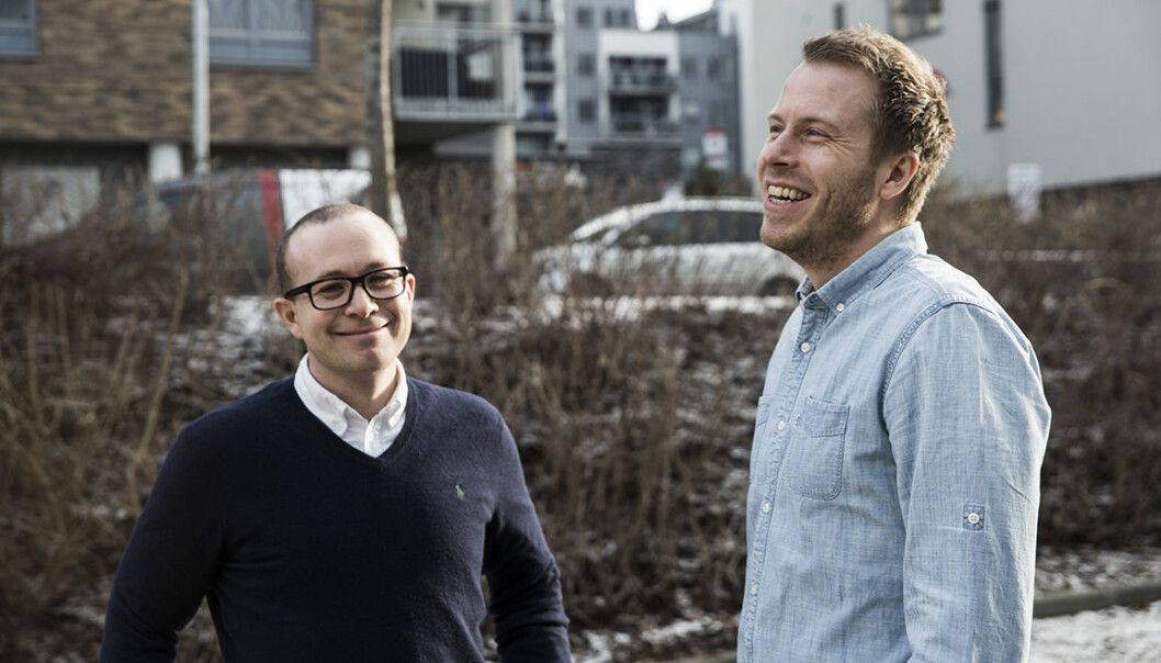 Thomas Sørbø (t.v.) og Patrik Olstad Berglund gründet Xeneta sammen. Foto: Per-Ivar Nikolaisen