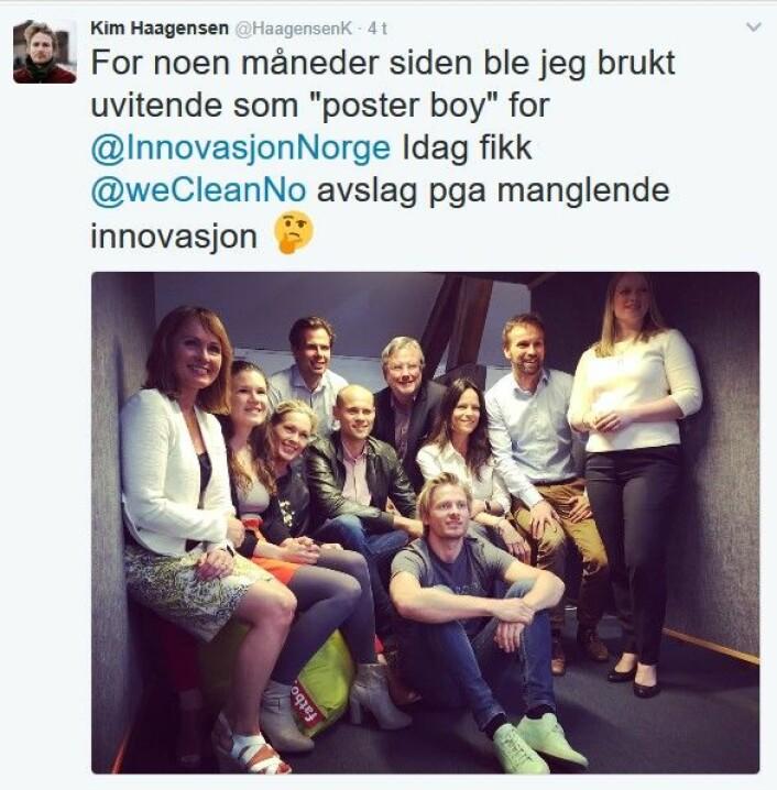 """Kim Haagensens <a href=""""https://twitter.com/HaagensenK/status/830004042759802881"""">Twitter-utblåsning</a> mot Innovasjon Norge."""