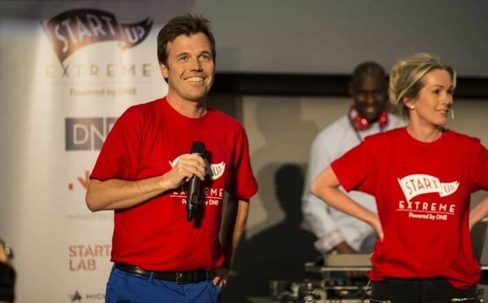 Pål T. Næss er gründersjef i Innovasjon Norge. Bildet er fra Startup Extreme-konferansen i juni 2016, hvor Næss blir annonsert som ny gründersjef av direktør Anita Krohn Traaseth. FOTO: Per-Ivar Nikolaisen