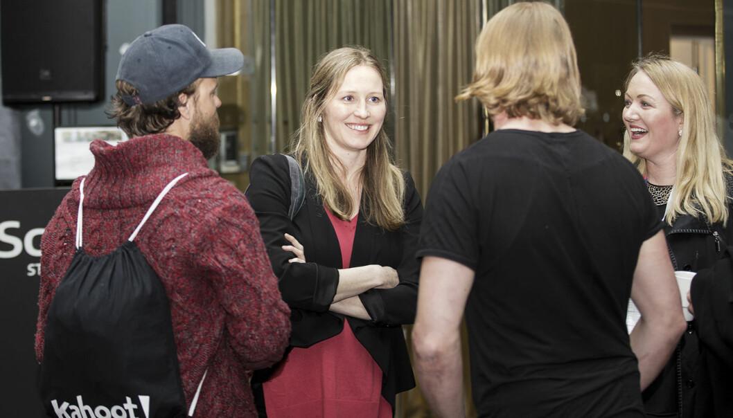 Danae Ringelmann i samtale med norske gründere på The Shift. Foto: Gry Traaen