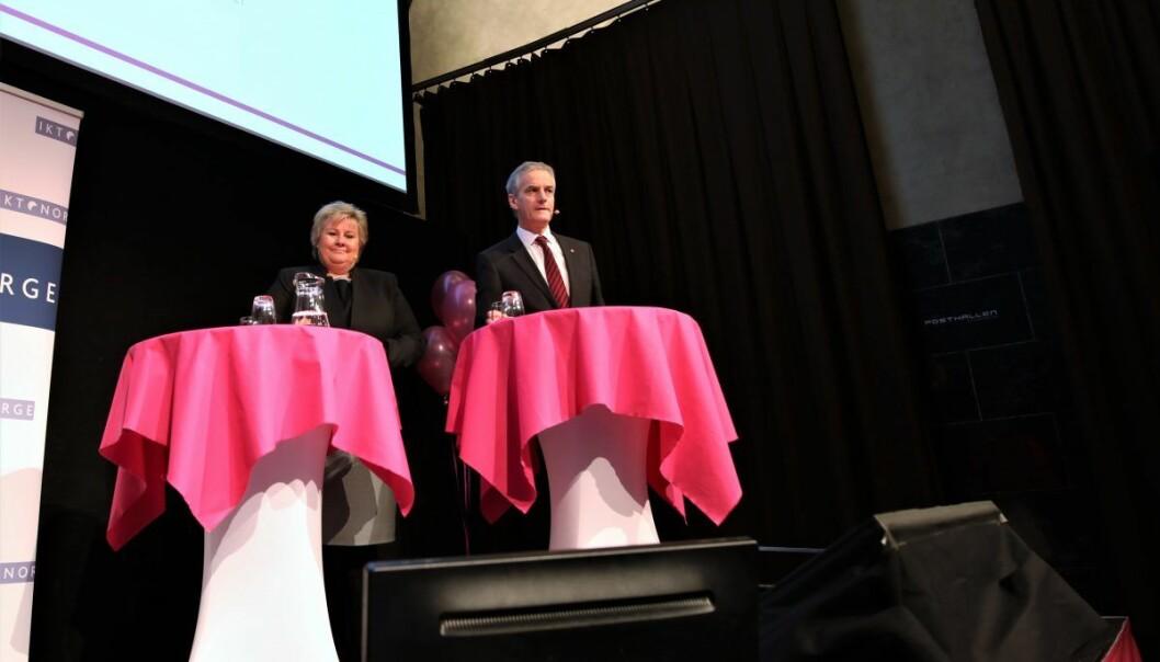 Erna Solberg (H) og Jonas Gahr Støre(Ap) i politisk duell om digitalisering.  Foto: Lucas H. Weldeghebriel