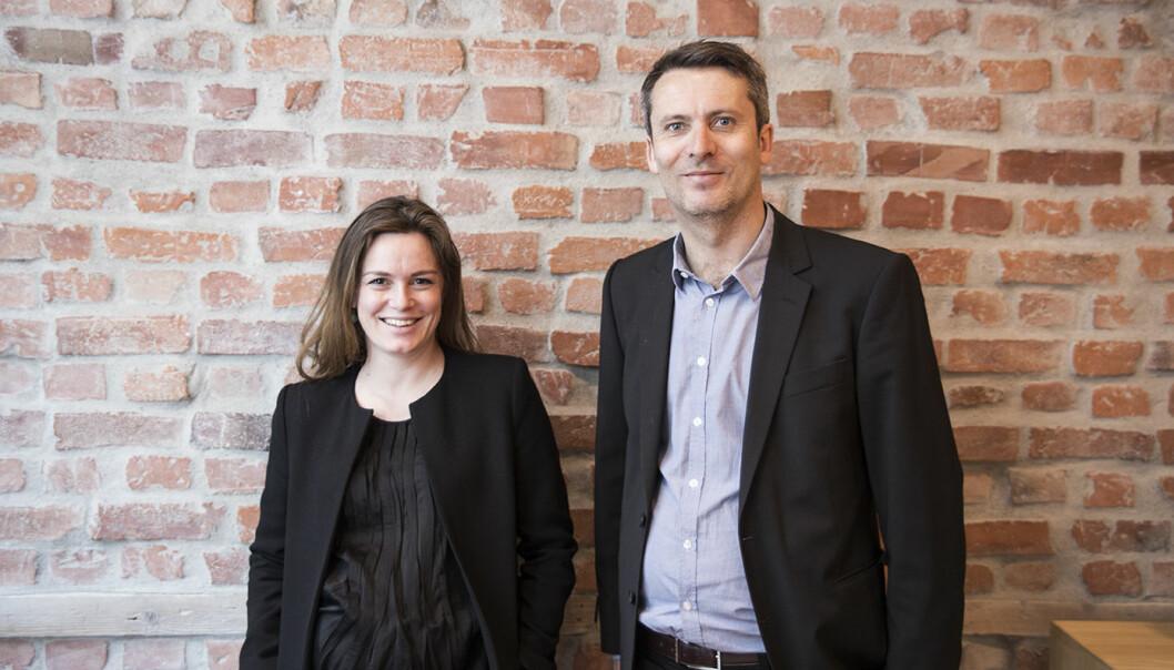 Daniel Ras-Vidal i Abelia sammen med Rikke Eckhoff-Høvding tidligere i år, da de la frem rapport om gründervennlig opsjonsskatt. Foto: Per-Ivar Nikolaisen.