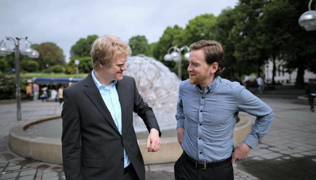 Nick Peters og Tor Kielland er gründere av OrgWeaver. Etter kursendringen begynte salgstallene å vokse. Foto: Lucas Weldeghebriel