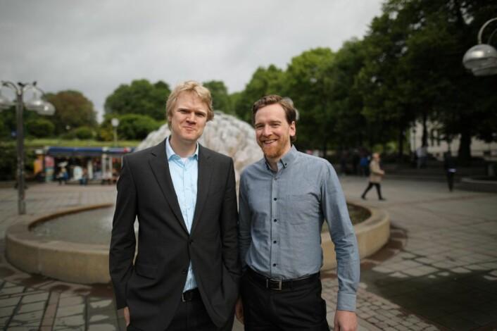 Tor Kielland (t.v) og Nick Peters innrømmer at de har gjort mange feil, som gründere flest. Nå virker det som om de er på rett spor. Foto: Lucas Weldeghebriel.