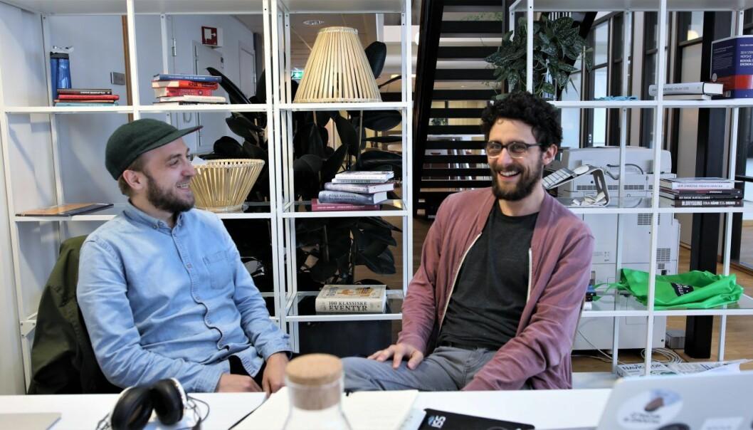 SOCIUS: Frode Jensen og Daniel Butler i Socius. Blant 685 søkere er de én av 102 selskaper som i dag får investering fra Google. Photo: Lucas Weldeghebriel
