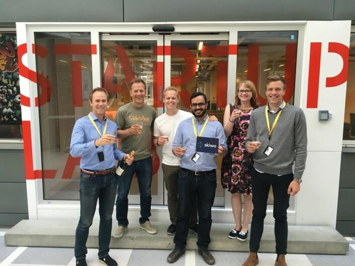 Skiwo er en av mange startups som har hentet pengerog ressurser fra StartupLab-systemet. Fra venstre: Jørn Mikalsen, Rolf Assev, Rodney Boot, Gautam Chandna, Tuulia Kankaanpää og Pål Kopperud. Foto: Skiwo.