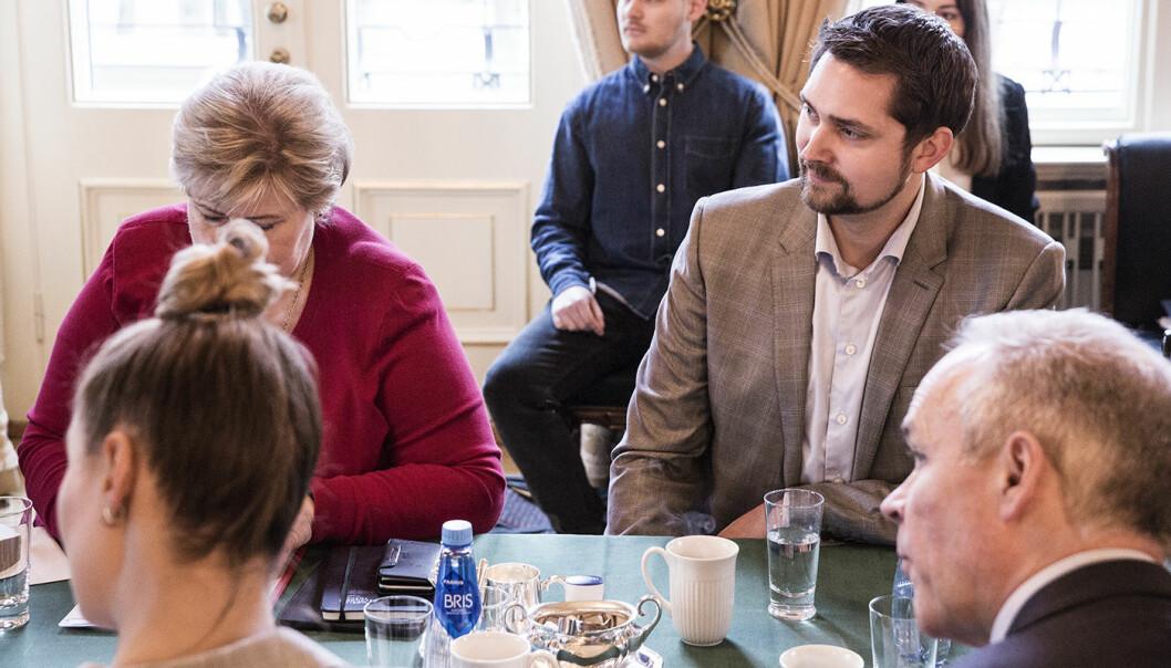 Karl Munthe-Kaas i Kolonial ved Erna Solbergs side på et topptungt gründermøte i statsministerboligen i 2017. Illustrasjonsfoto: Per-Ivar Nikolaisen