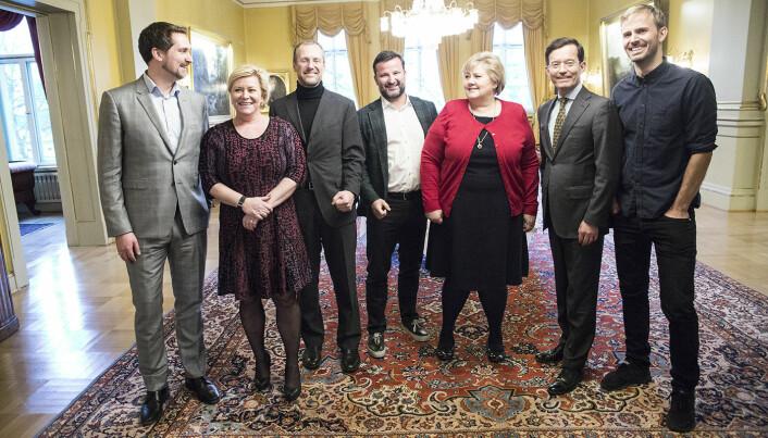 Karl Munthe-Kaas (t.v.) og flere andre bak det såkalte Gründeroppropet ble tidligere i år invitert til statsministerboligen. Foto: Per-Ivar Nikolaisen