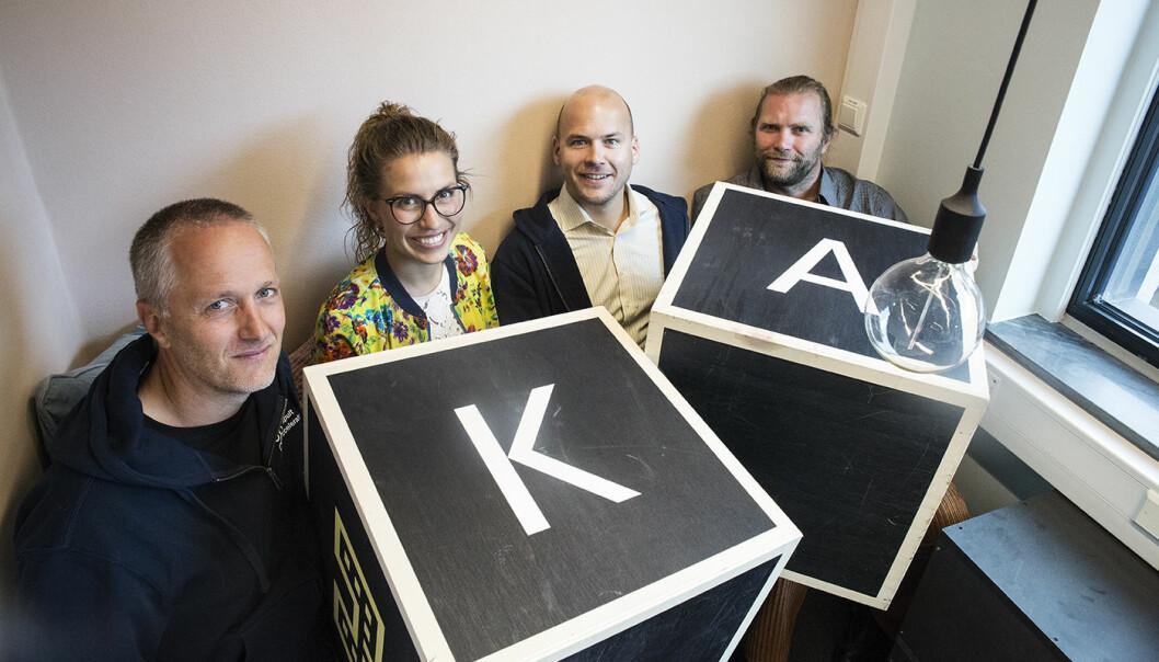 Anders Lier, Nina Heir, Haakon Brunell og Tharald Nustad i Katapult Accelerator. Foto: Per-Ivar Nikolaisen