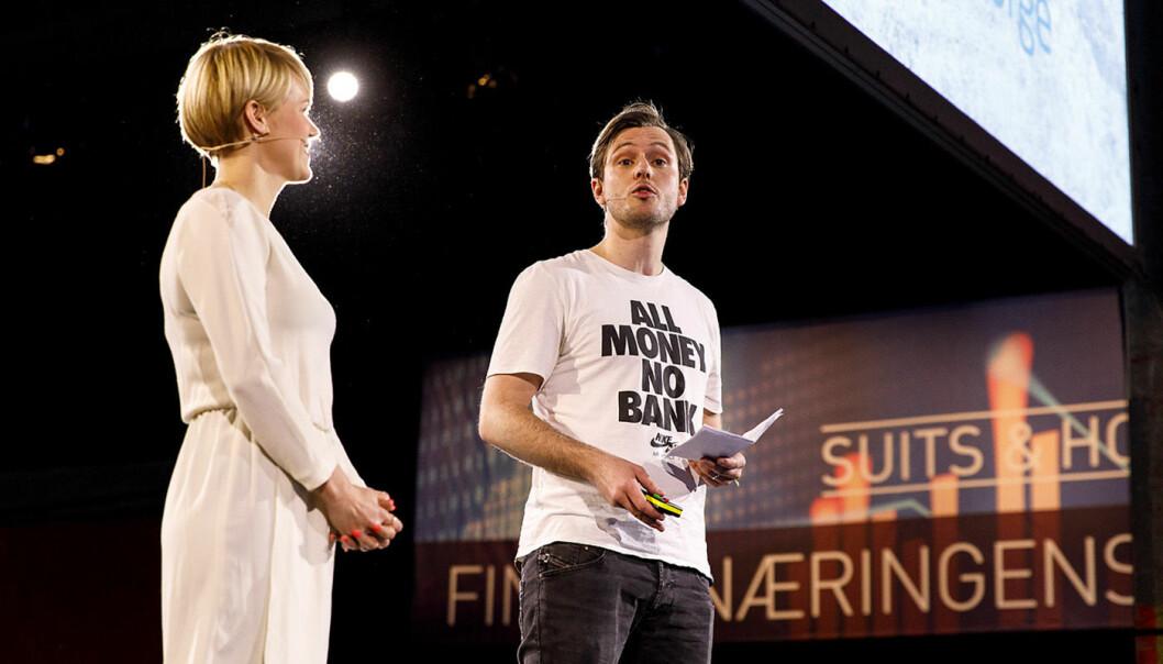 Carl-Nicolai Wessmann sammen med Sigrid Bonde Tusvik på Finansnæringens dag. Foto: Eirik Kvilten