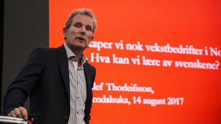 """""""Hva kan vi lære av svenskene,"""" spurte Abelia og Investinor under Arenddalsuka. Tellef Thorleifsson i Northzone svarte. Foto: Per-Ivar Nikolaisen"""