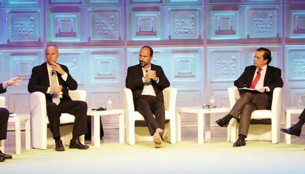 Dara Khosrowshahi er mannen i midten, og blir ny toppsjef i Uber. Foto: World Travel & Tourism Council, Flickr