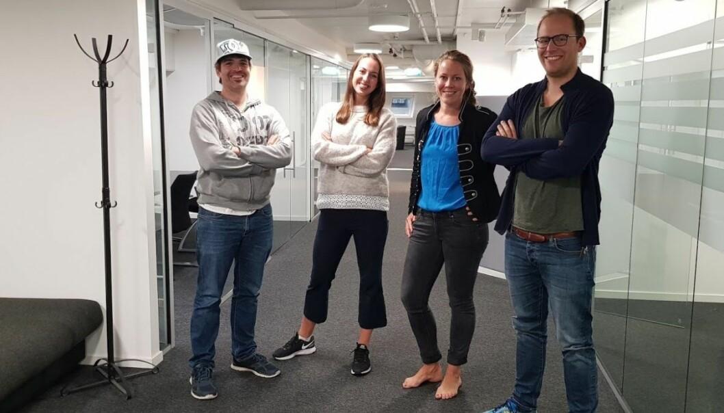 Lawbotics-teamet fra venstre: Alexander Schwantes, Marte Tronstad, Merete Nygaard og Alexander Bakos Leirvåg. Foto: Lawbotics