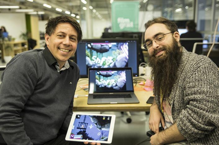Teamet i Poio var lenge bare gründer Daniel Senn og utvikler Johannes Stensen. Her fra StartupLab i januar i år. Foto: Per-Ivar Nikolaisen
