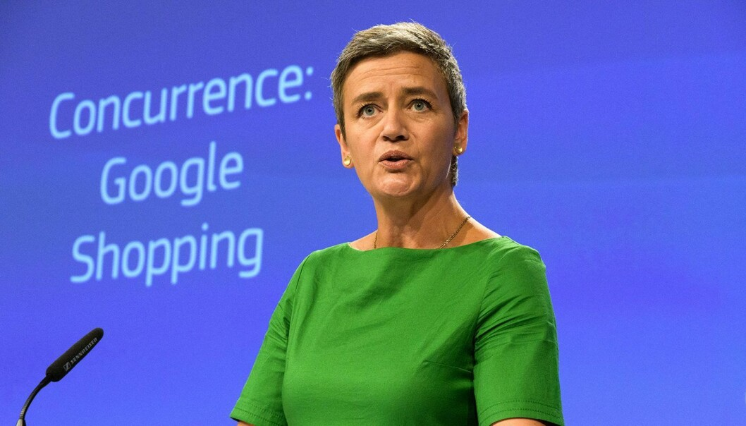 EU-kommisær Margrethe Vestager da hun ila Google en bot tidligere i år. Foto: EC Audio Visuals