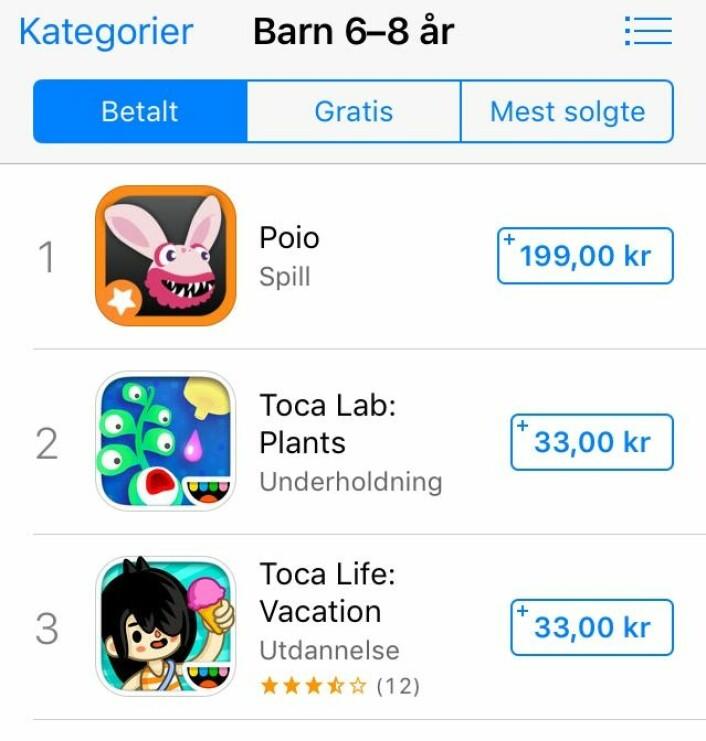 Poio på topp i App Store. Foto: Screenshot
