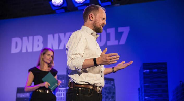 Gunnar Bergesen i Technebies tester utviklere. Foto: Per-Ivar Nikolaisen