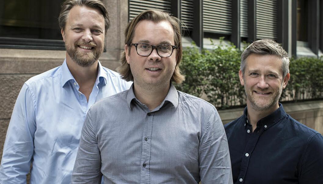 Jarle Holm (CFO, Co-founder), Sven Haadem (Chief Data Officer), og David Baum (CEO, Co-founder) i Monner. Foto: Monner.