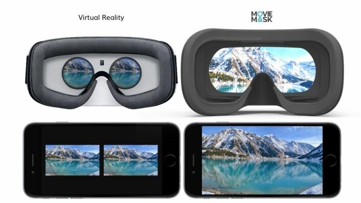 Forskjellen mellom VR-briller og MovieMask-briller. Foto: MovieMask