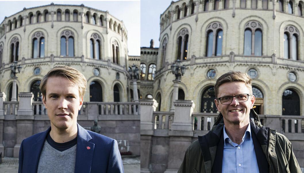 Torstein Tvedt Solberg i Arbeiderpartiet og Terje Breivik i Venstre pusher på for bedre opsjonsskatt. Fotos: Per-Ivar Nikolaisen