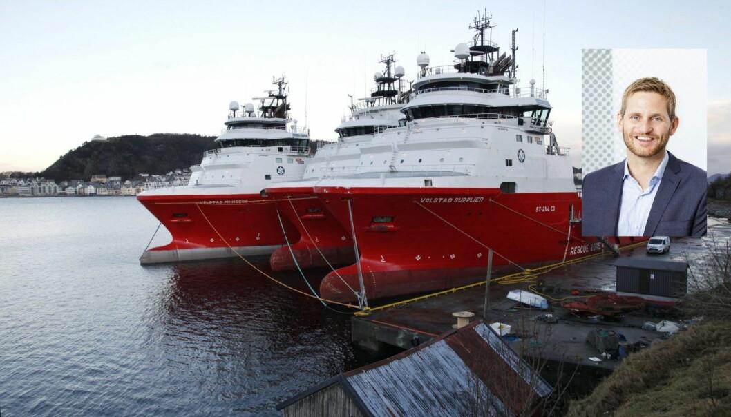 Tord Dale i Maritimt Forum /Supplyskip fra Volstad Shipping i opplag i Ålesund. Foto: Halvard Alvik / NTB scanpix
