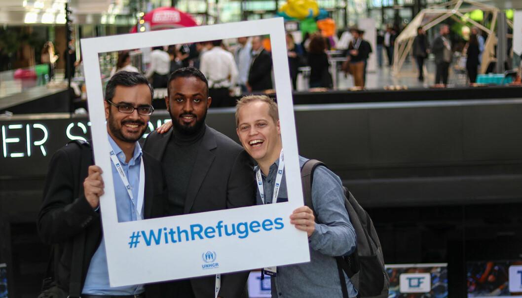 Gautam Chandna (t.v.), Aman Tesfamichael og Rodney Boot i TikkTalk var på Techfugees. Foto: Jawad Allazkani, Techfugees