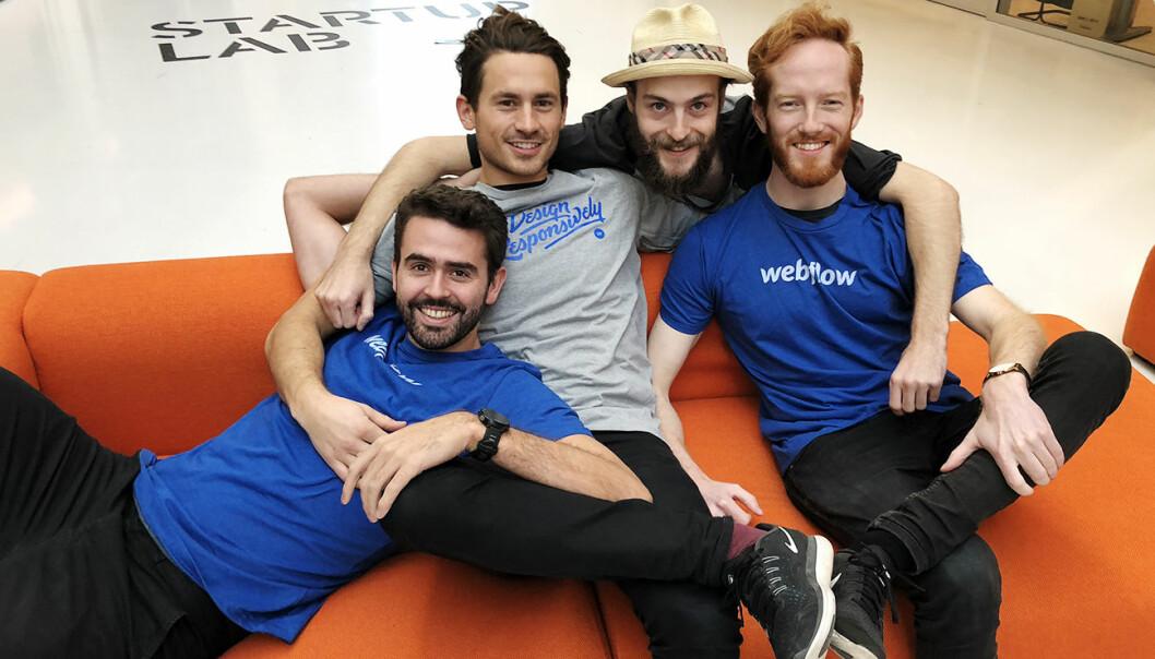 Frede Fardal, Jakob Palmers, Marian Lucas og Erik Sandsmark i Graphiq holder til på StartupLab, men flytter snart til 657. Foto: StartupLab