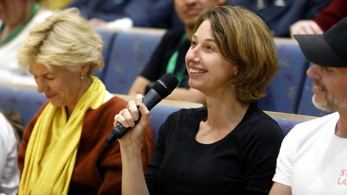 Techprofilen Silvija Seres var en av flere fremtredende navn i juryen på hackathonet. Foto: Ole Magnus Grønli / Kartverket