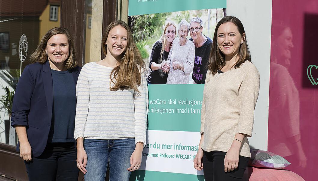Silje Robinson (til venstre), ergoterapeut Åsne Mathisen som er leder for Helseteamet i weCare og Kristine Askvik. Foto: Kristines sønn som var med på jobb en ettermiddag