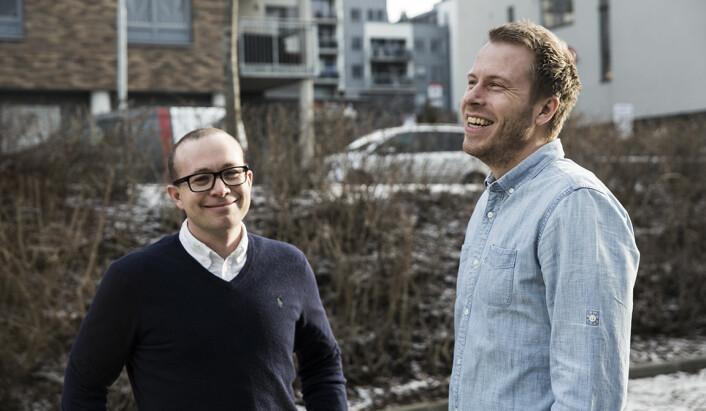 Thomas Sørbø (t.v.) og Patrik Olstad Berglund gründet Xeneta. Foto: Per-Ivar Nikolaisen