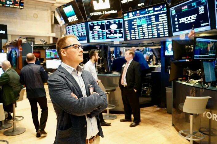For gründer og Zedge-sjef Tom Arnøy var det et sterkt øyeblikk da Zedge-tickeren var på plass på New York Stock Exchange. Foto: Thor Richard Isachsen
