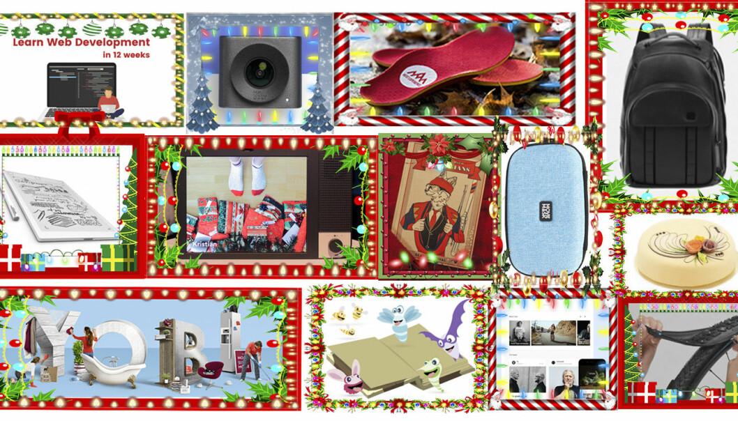 Noen av julegavene du nærmest kan være sikker på at dine nære og kjære ikke har fått fra før. Det kan se ut til at innovasjon redder julen. Foto, fra øverste venstre til nederste høyre: Bitcamp, Huddly, Heat Experience, Douchebags, reMarkable, Johannes Jakobsen, Benedicte Tandsæther-Andersen,  MovieMask, Cake it easy, Yobi, Poio, Vio, Retyre.