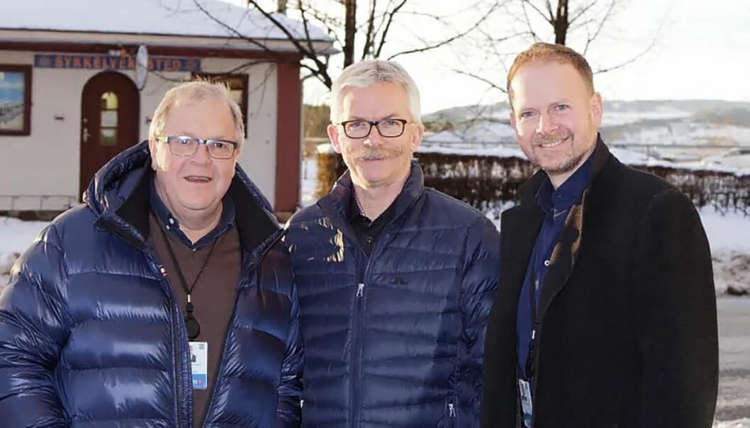 Rigger seg for fremtiden. Rune Surland, leder forretningsutvikling Finans Østlandet (f.v.), Bjørn Oustad, eier og gründer av Kong Arthur AS og Bjarne Chr. Finstad, administrerende direktør, Finans Østlandet.