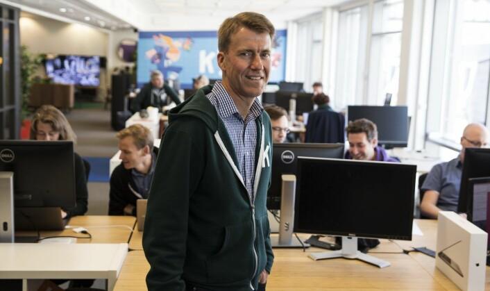 Erik Harrell foran teamet som utviklet den nye mobilappen til Kahoot i en fei. Foto: Per-Ivar Nikolaisen