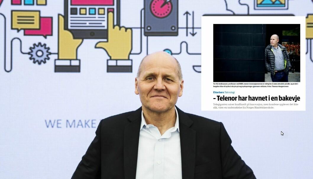 Telenorsjef Sigve Brekke og faksimile fra DN som Norsk innovasjonsindeks.  Foto: Per-Ivar Nikolaisen og DN