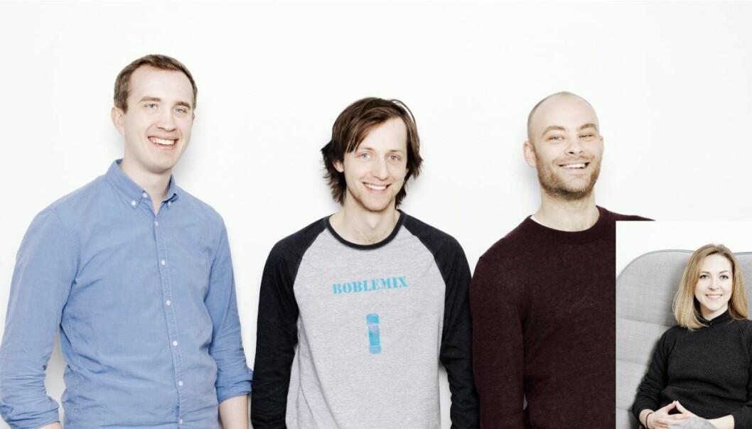 (fra venstre: Morten Vaale Noddeland, Magnús Dæhlen og Kris-Mikael Krister. Lena Hjalmarsson (innfelt). Foto: Otovo.
