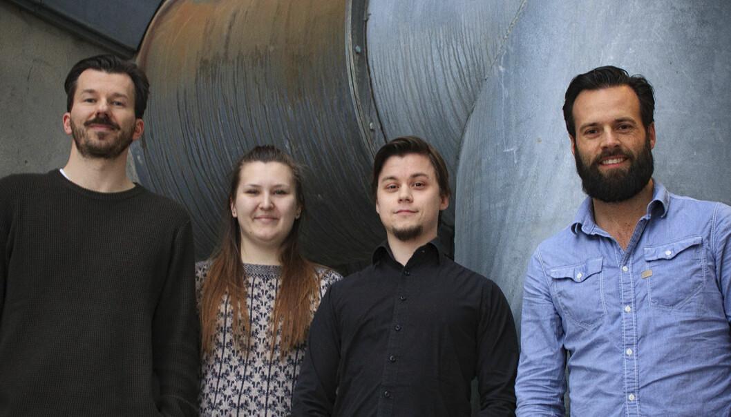 Intelecy utvikler AI-teknologi som skal hjelpe bedrifter å bedre utnytte driftshistorikken sin. Fra venstre til høyre: Bertil Helseth, Magdalena Kowalczyk, Leif Larsen, Espen Davidsen.