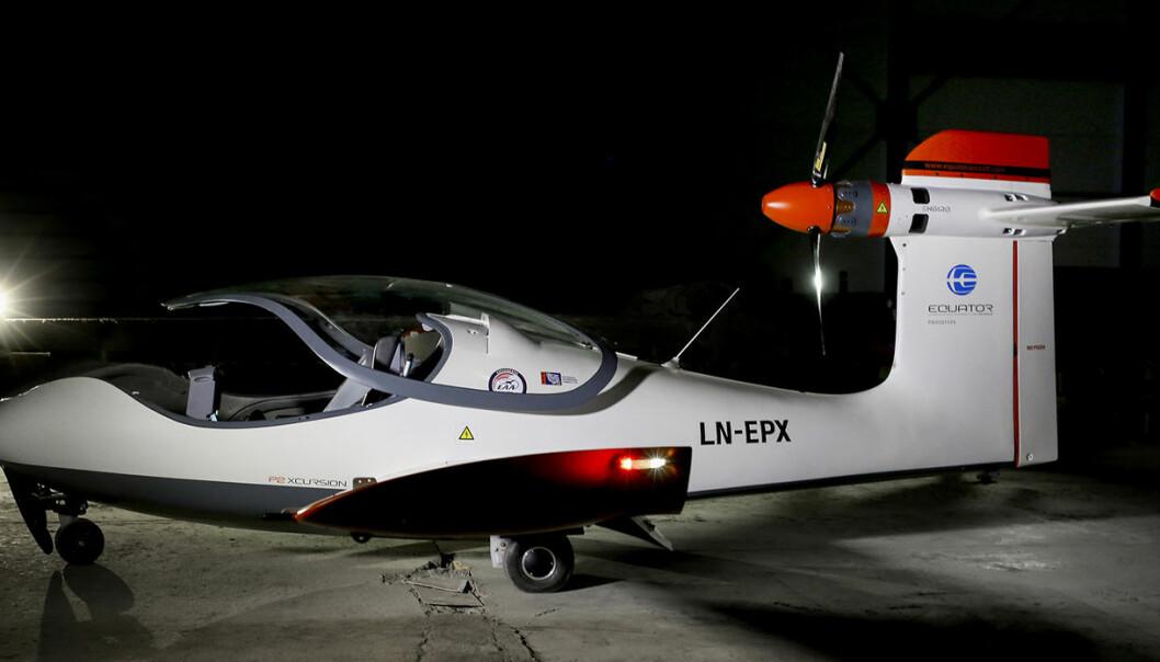 Thomas Brødreskift i Equator Aircraft Norway har bygget det som trolig er verdens første elektriske sjøfly, som heter Equator P2. Han håper det kan bli et miljøvennlig alternativ til annen transport. Foto: Monica Strømdahl / NTB scanpix