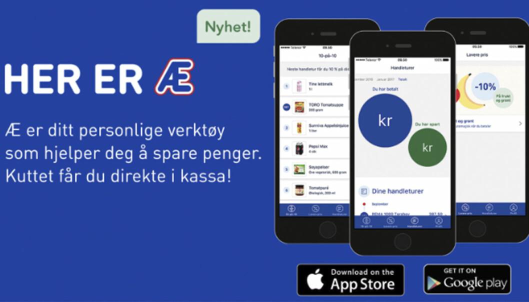 Rema 1000s app, Æ, får ikke lenger lov til å lagre personopplysninger i fem år. Foto: Skjermdump fra Rema.no