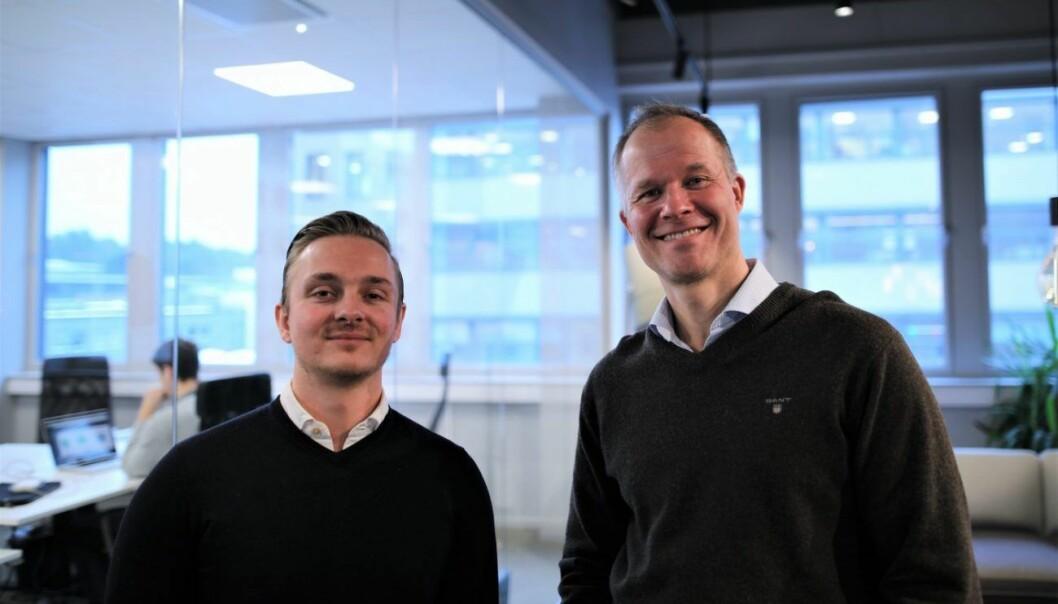 Alexander Storkaas, daglig leder i OwnersRoom, sammen med styreleder og gründer Ivar Kroghrud. Foto: Lucas Weldeghebriel