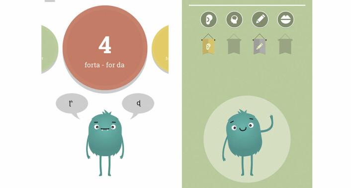 """Screenshots fra Norwegian Pronunciation-appen, som Sounds Good har utviklet. Et grønt monster skal hjelpe appens """"elever"""" gjennom ulike øvelser."""