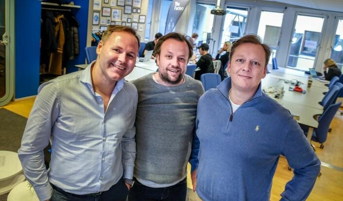 Fra venstre: COO Øyvind Pedersen Jr., CEO Didrik Martnes og CMO<br />Richard Paulsen i BitzBot. Foto: Vilde Mebust Erichsen