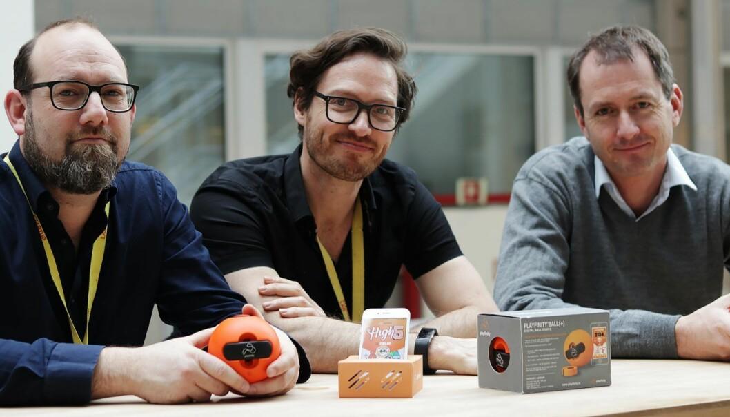 Barndomsvennene Paal Smith-Meyer, Eivind Solberg og Henrik Stub Aune er blant dem som har startet Playfinity. Foto: Kine Torp Ellingsen