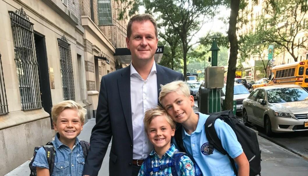 Ståle Reitan har flyttet til New York med kone og barn på 8, 9 og 11 år - for bygge opp salgs- og supportavdeling i softwareselskapet Synergy SKY. Foto: Privat