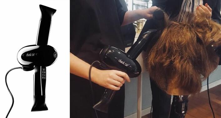 Dual Air-hårføneren slik produktet ser ut, og slik det brukes. I og med at føneren har to rør for utblåsninger, kan frisøren tørke kundenes hår uten å gjøre mange ulike armbevegelser, eller ta armen ut fra kroppen. Foto: Dual Air