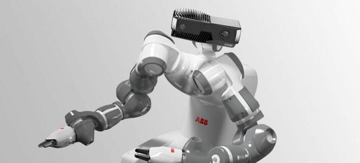 Det er ingen tilfeldighet at kameraet mot forveksling ser ut som robotversjonen av E.T.: -- Vi har sammen med Eker Design lagt ned veldig mye tid i å gi kameraet et menneskelig design - det tross alt mennesker som skal jobbe med disse robotene, sier Schumann-Olsen. Foto: Zivid Labs.