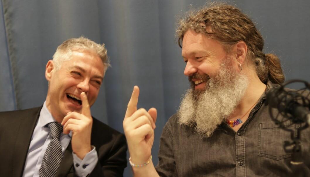 Salvador Baille og Torgeir Waterhouse diskuterer GDPR og Facebook-skandalen i Shifters podcast. Foto: Lucas Weldeghebriel