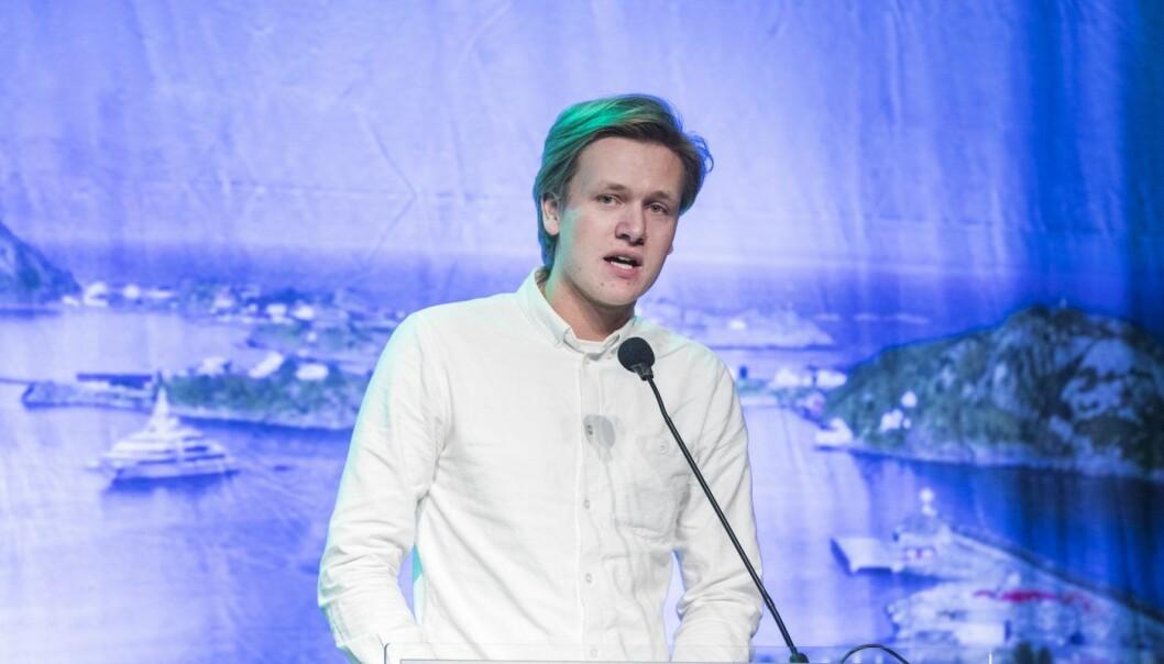 Venstres Sondre Hansmark (Unge Venstres leder) som talte på Venstres landsmøte.  Foto: Gorm Kallestad / NTB scanpix