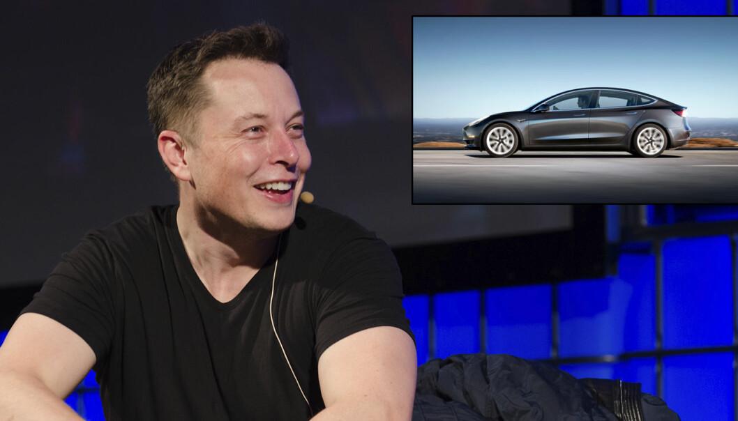 Elon Musk, med Tesla Model 3 (innfelt). Foto: Heisenberg Media (Elon Musk), Tesla Model 3 (Peter Stevens). Begge bilder er fra Flickr.